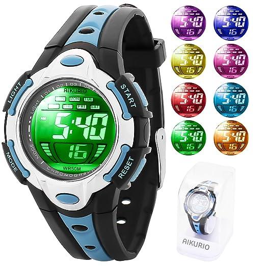 AIKURIO Niños Reloj Digital 50 M Impermeable con Correa de Silicona 8 Colores Luces LED para Deportes al Aire Libre AKR006: Amazon.es: Relojes