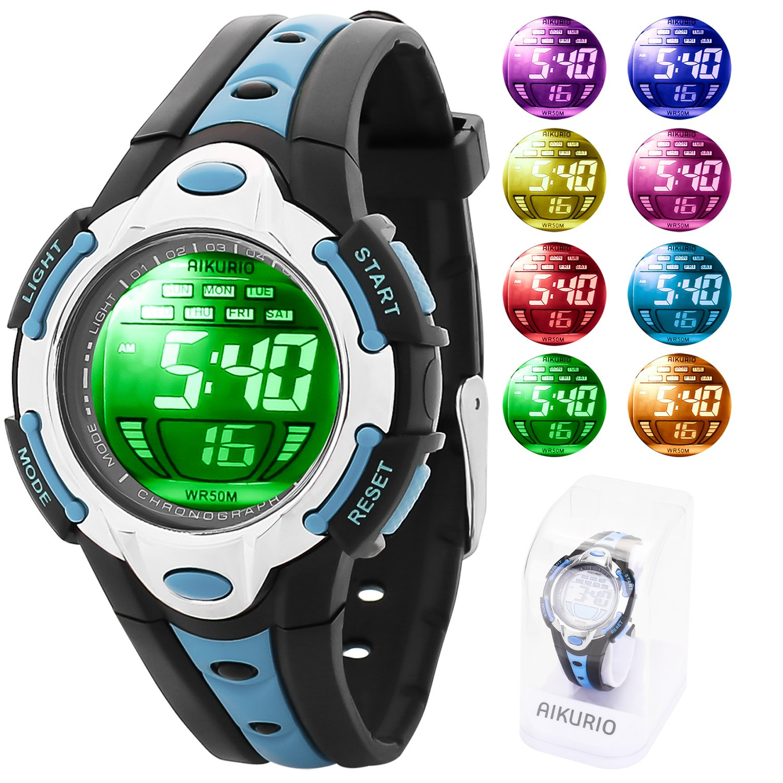 AIKURIO Niños Reloj Digital 50 M Impermeable con Correa de Silicona 8 Colores Luces LED para