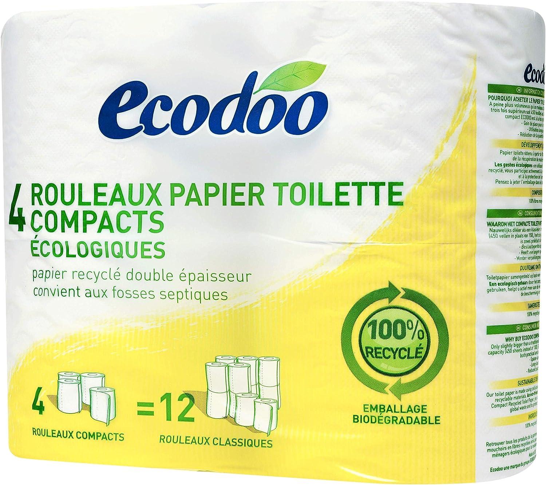 Ecodoo Papel De Baño Reciclado 4 Uds 4-400 g: Amazon.es: Salud y ...