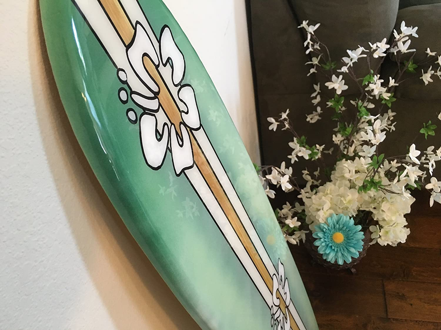 Amazon surfboard wall hanging four foot decorative surfboard amazon surfboard wall hanging four foot decorative surfboard wall art green with hibiscus handmade amipublicfo Images