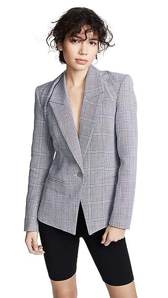 Dion Lee Women's Binary Check Blazer, Navy Check, Grey