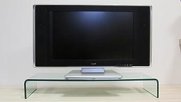 TV Untertisch Fernseh Bildschirm Monitor Unterstelltisch Glasaufsatz TV-Schrank