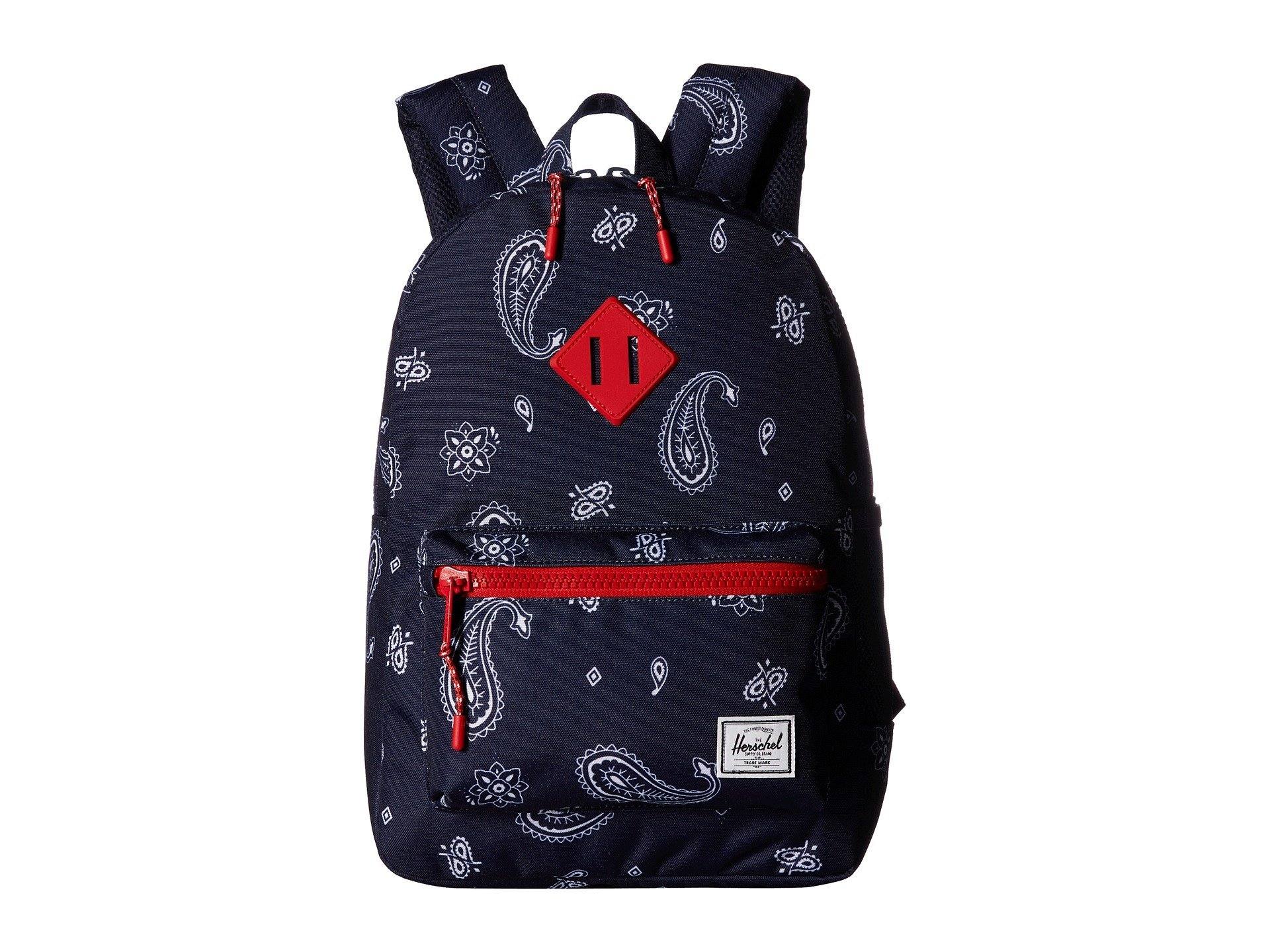 Herschel Supply Co. Kids' Heritage Youth Children's Backpack, Bandana Paisley Peacoat/Barbados Cherry, One Size