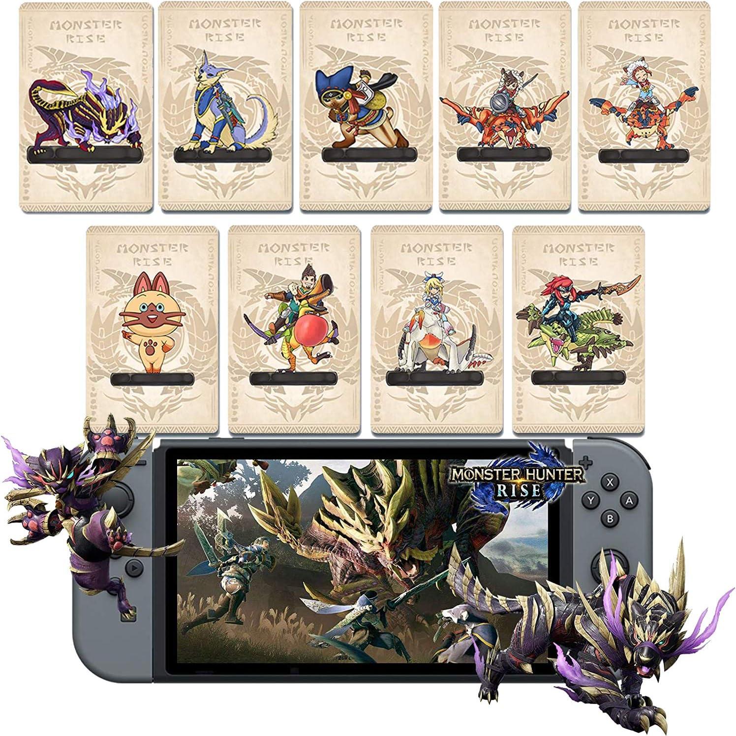 9 개 몬스터 헌터 상승 NFC AMIIBO 미니 카드 PALAMUTE PALICO MAGNAMALO. 호환 스위치   스위치 라이트   새로운 3DS