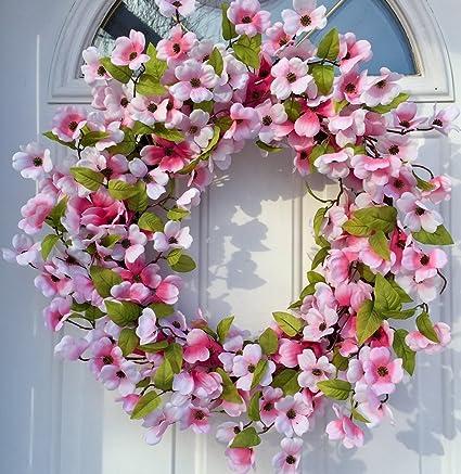 Stellar Performance Pink Dogwood Wreath Indoor And Outdoor Wreath Front Door  Decoration