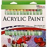 U.S. Art Supply 12ml Premium Vivid Acrylic Artist Aluminum Tube Paint Set (24-Colors)