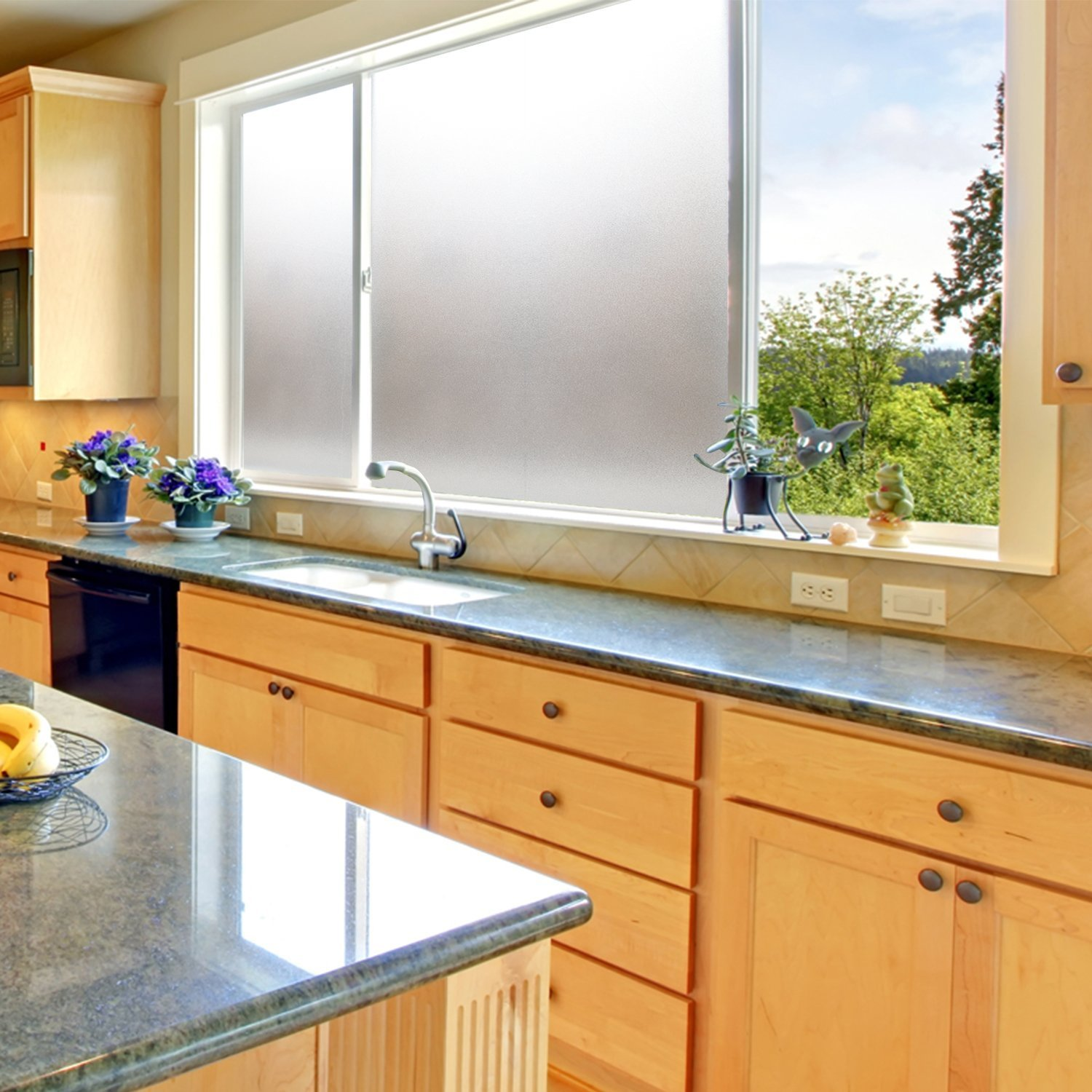 Coavas Window Film Non Adhesive Frosted Home Office Film