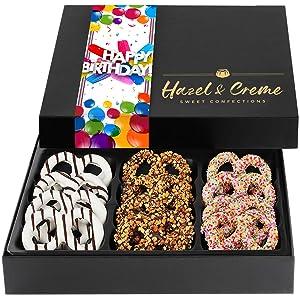 Hazel & Creme Chocolate Covered Pretzels - HAPPY BIRTHDAY Chocolate Gift Box - Gourmet Food Gift (Large Box)