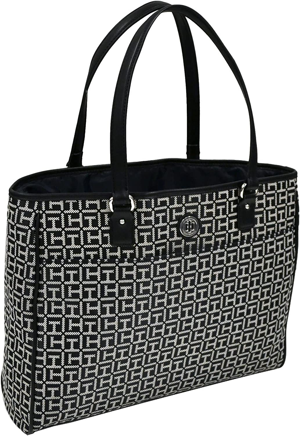 Tommy Hilfiger Large Tote Purse (Black/White)