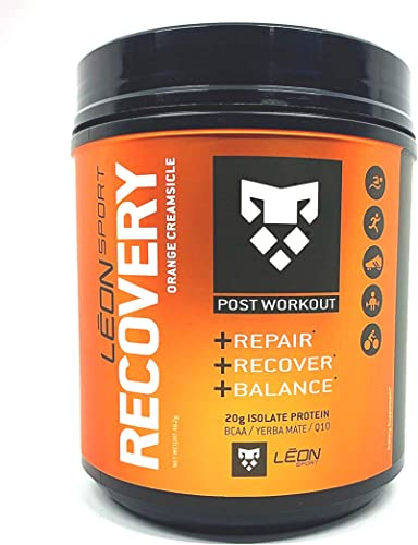 Leon Sport Recovery – Keto Protein Powder Food with BCAA, L Glutamine Plus Yerba Matte – Zero Carbs Orange Creamsicle