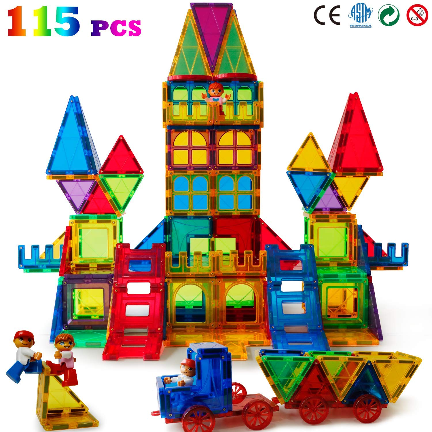 Magblock 115 PCS Magnetic Blocks, Magnetic Tiles Building Blocks for Kids Toy,Magnet Toys Set 3D Building Blocks for Toddler Boys and Girls