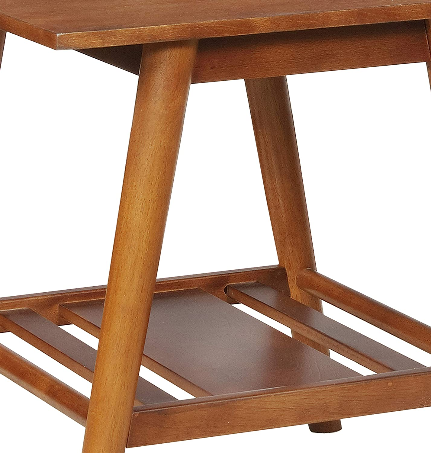 Benjara , Brown Wooden End table with Angled Legs and Open Shelf Storage