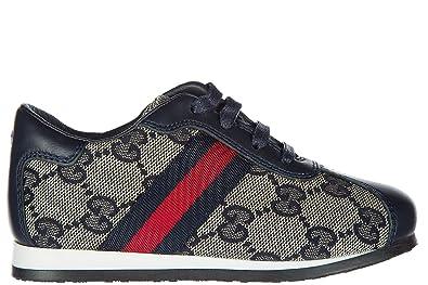 Gucci chaussures baskets sneakers enfant garçon en cuir neuves blu EU 30  257826 FWHF0 4064 feb792a4605