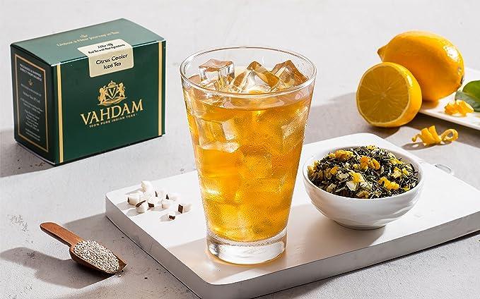 VAHDAM, Té Helado Citrus Cooler | 40 porciones, 8 cuartos | Ingredientes 100% naturales ...