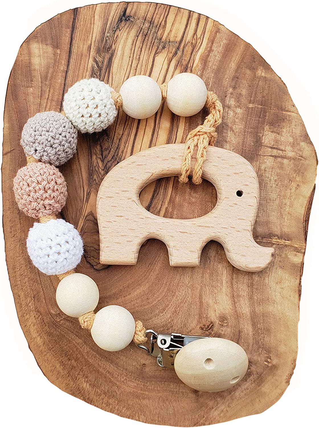 Natural Wooden Teething Toy Interchangeable Pacifier Holder Strap, Dummy Clip, Neutral baby shower gift