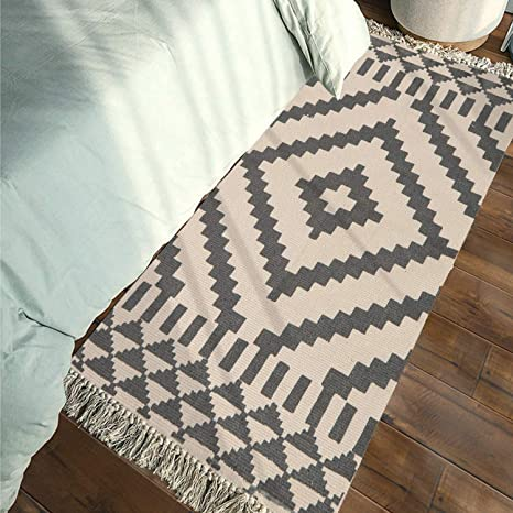 Washable Cotton Throw Rugs.Moroccan Cotton Area Rug 2 X 4 3 Kimode Washable Hand Woven Print Tassel Chic Diamond Throw Rugs Welcome Door Mat With Non Slip Pads For