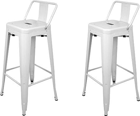 La Silla Española - Pack 2 Taburetes estilo Tolix con respaldo. Color Blanco. Medidas 95x44,5x44,5: Amazon.es: Hogar