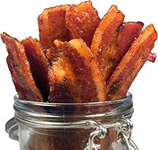 product image for Delicious Uncured Real Bacon Jerky Hand Crafted Small Batch Kickin' Sriracha MSG Free Nitrate & Nitrite Free (Kickin' Sriracha, 24 pack)