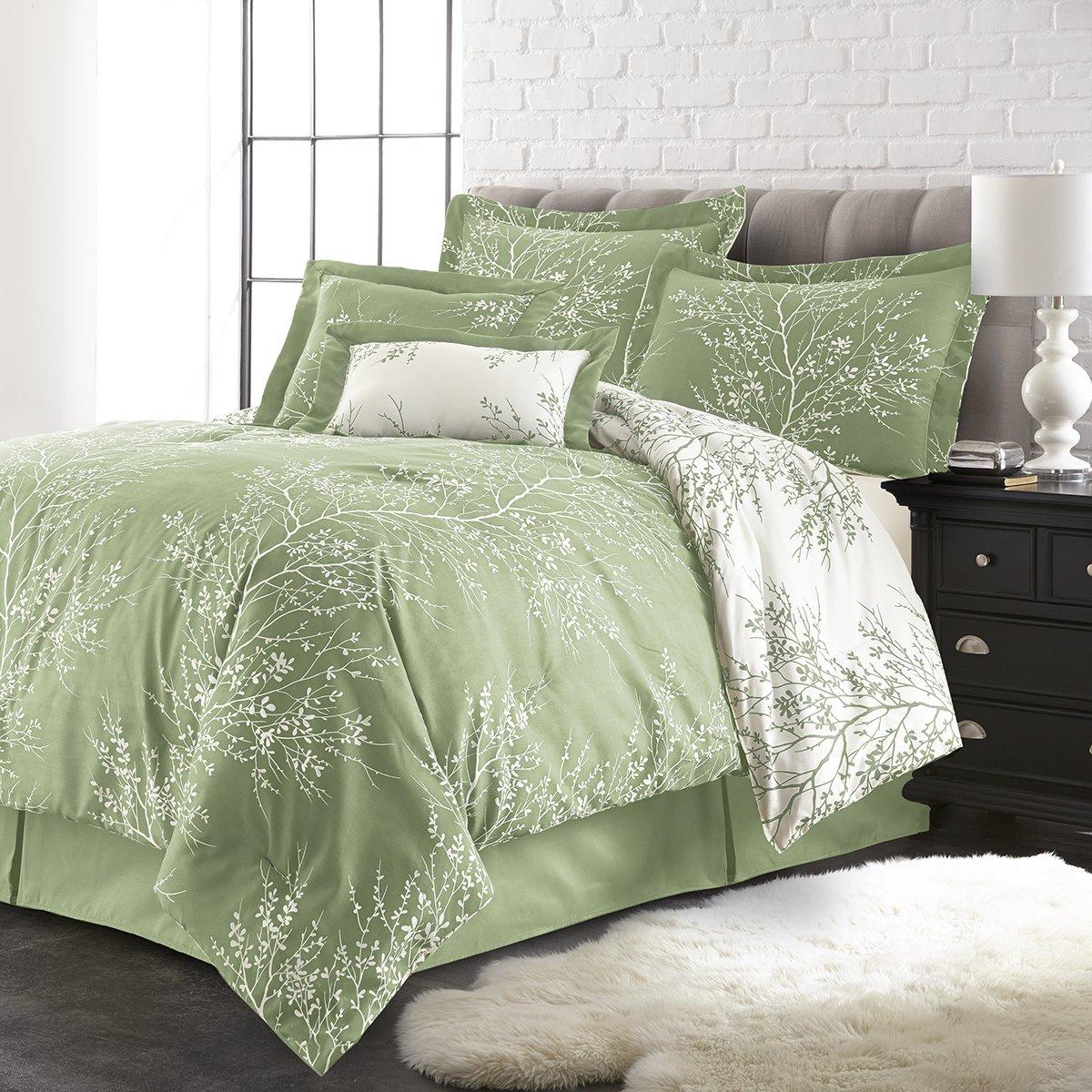 Spirit Linen, Inc Hotel 5th Ave Plush Reversible Comforter Set, Queen, Sage/White