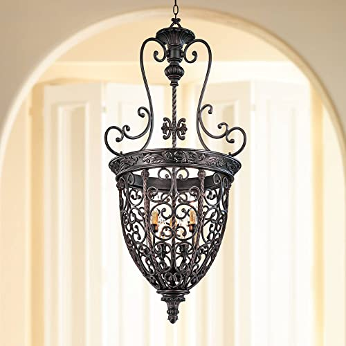 French Scroll Rubbed Bronze Foyer Chandelier 22 1 2 Wide Rustic Country Iron 9-Light Fixture for Dining Room House Foyer Kitchen Island Entryway Bedroom Living Room – Franklin Iron Works
