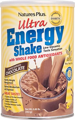NaturesPlus Ultra Energy Shake – .8 lbs, Vegetarian Protein Powder – Chocolate – Plant-Based – Supports Weight Management, Low-Glycemic Diets Healthy Blood Glucose – Gluten-Free – 11 Servings