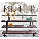 LOKKHAN 3-Tier Industrial Serving Cart with Wheels-Wood and Metal Rolling Utility Cart,Home Kitchen Trolley Wine Cart,Heavy D