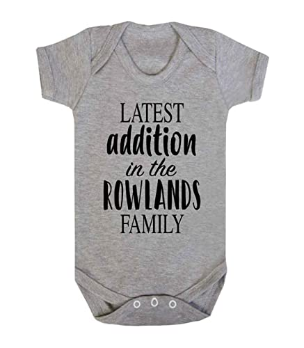 Personalised latest addition in the surname family baby vest personalised latest addition in the surname family baby vest babygrow new baby gifts newborn baby gifts negle Images