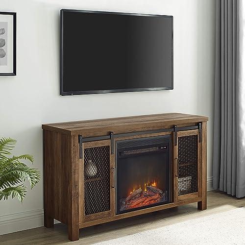 Walker Edison WE Furniture Fireplace TV Stand 48″ Rustic Oak