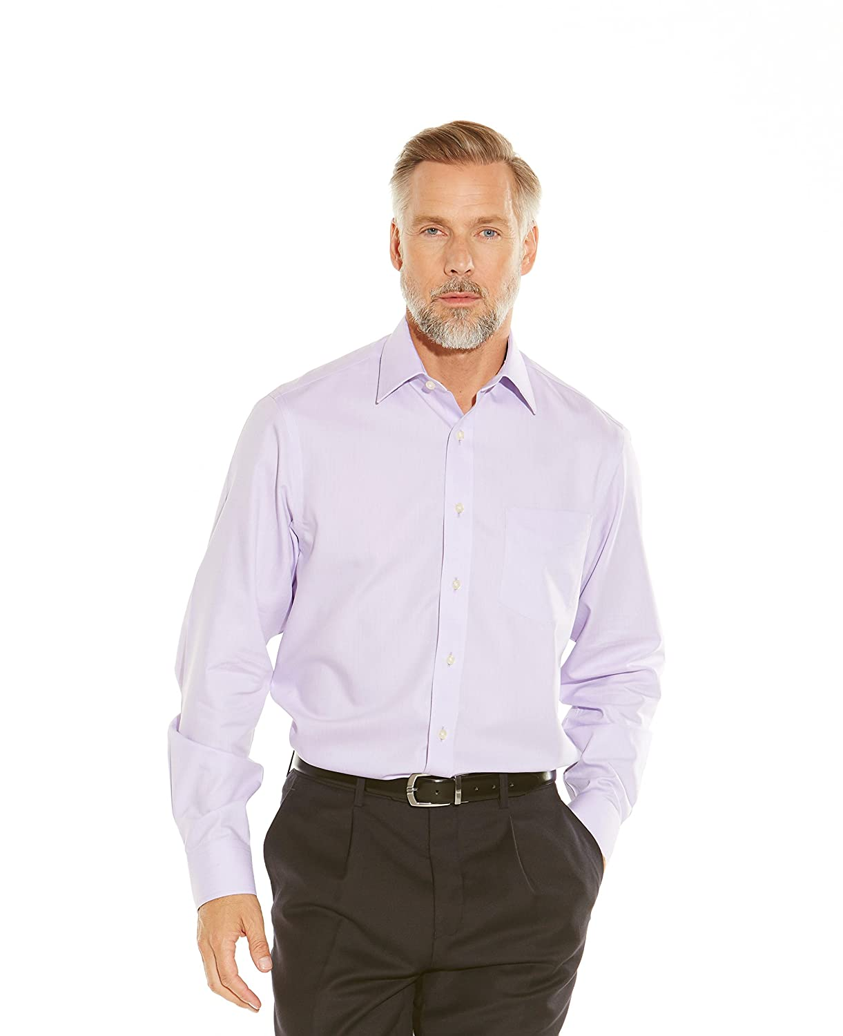 "Savile Row Men's Non-Iron Lilac Herringbone Classic Fit Shirt Single Or Double Cuff 15 1/2"" Standard Double"