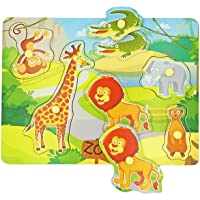 Wooden Peg Baby Puzzles, Full-Color Pictures Animal Shape Chunky Puzzle, Jumbo Knob Zoo Puzzle for Toddlers 1 Year Old…