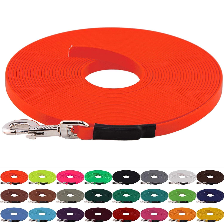 13 mm breit ohne Handschlaufe gen/äht bis zu 30 Meter L/änge in vielen Farben BioThane Schleppleine f/ür Hunde 15-25kg