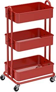 SimpleHouseware Heavy Duty 3-Tier Metal Utility Rolling Cart, Red