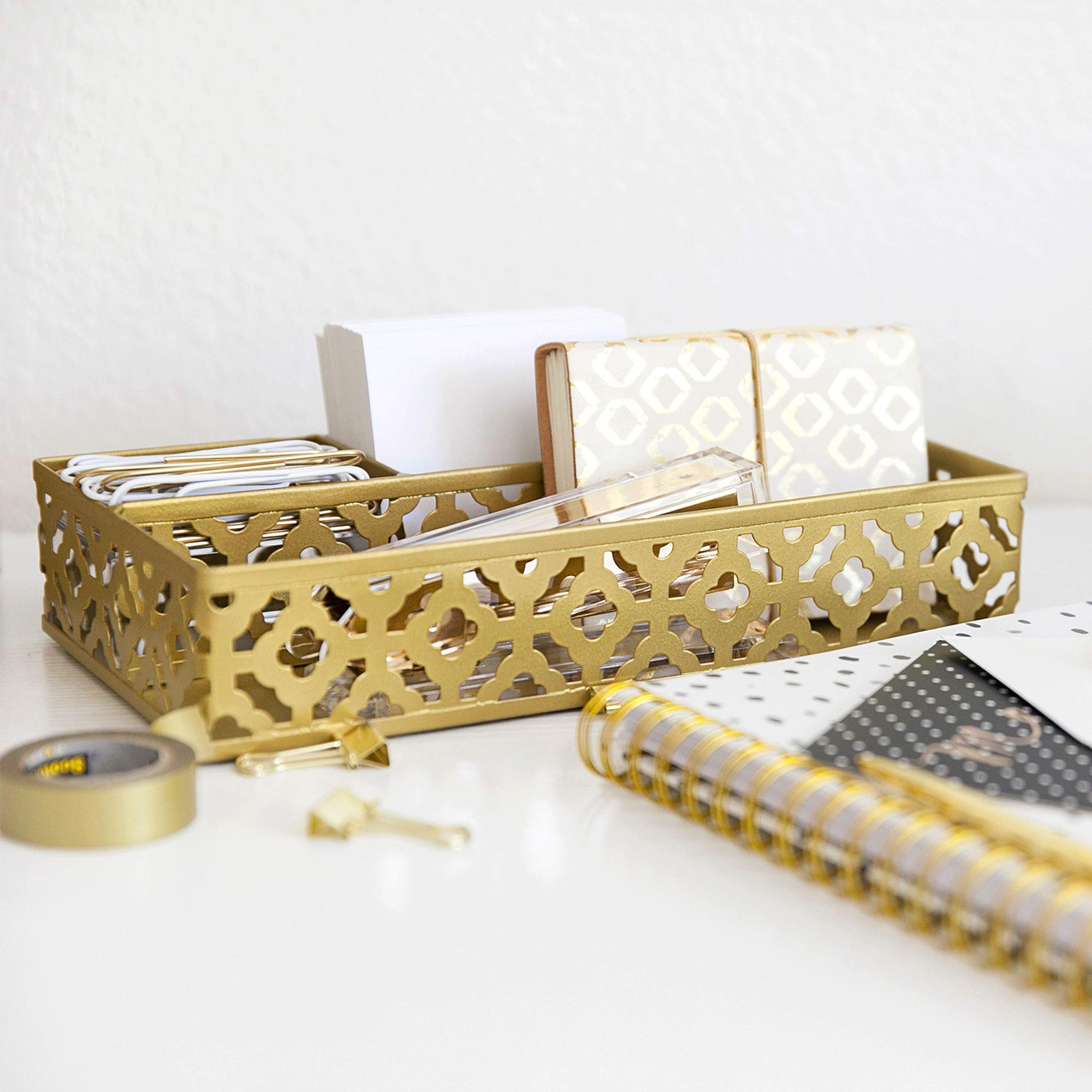 Blu Monaco Gold Desk Organizer for Women - 3 Piece Desk Accessories Set - Pen Cup, Magazine-File-Mail Holder, and Accessories Tray - Antique Gold Brass Finish Office Supplies Stationery Decor by Blu Monaco (Image #4)