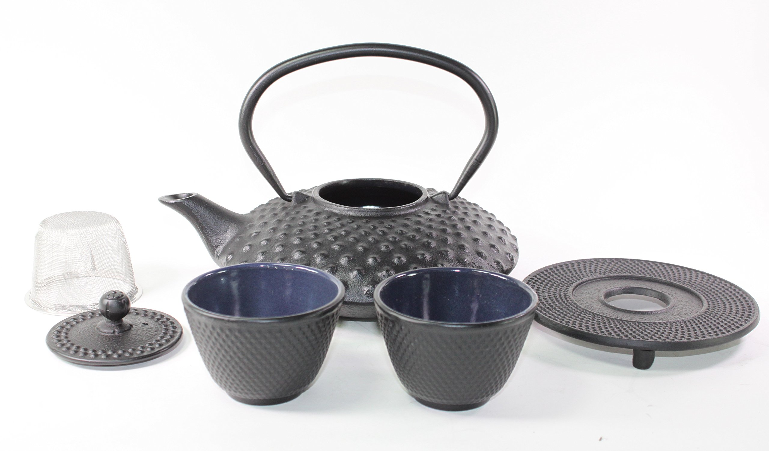 Japanese Antique 24 Fl Oz Black Dot Hobnail Cast Iron Teapot Tetsubin with Infuser Tea Set with Trivet