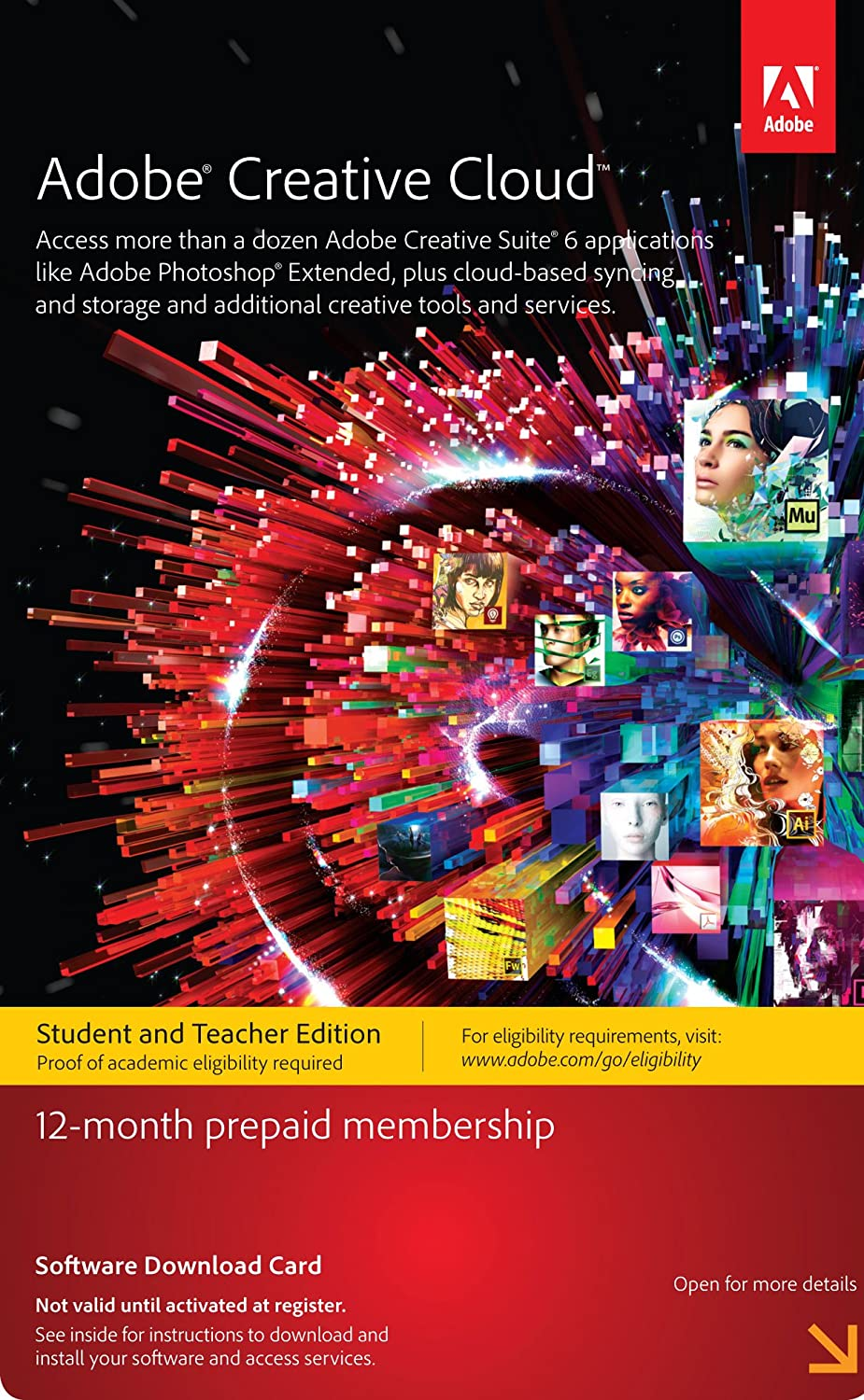 Amazon.com: Adobe Creative Cloud Student And Teacher Edition Prepaid  Membership 12 Month   Validation Required: Software