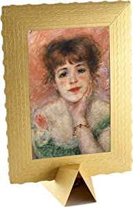 Greeting Card Drawing Art Wishes - Birthday card Presents Gift - 4x6 Vintage card - 3-d Art cards BANKSY Framed – greeting card with Holder (Jean Samary, Renoir)