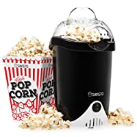 Savisto Hot Air Popcorn Maker with 6 Popcorn Boxes | Electric Popcorn Machine for Healthy, Fat-Free Popcorn - Black