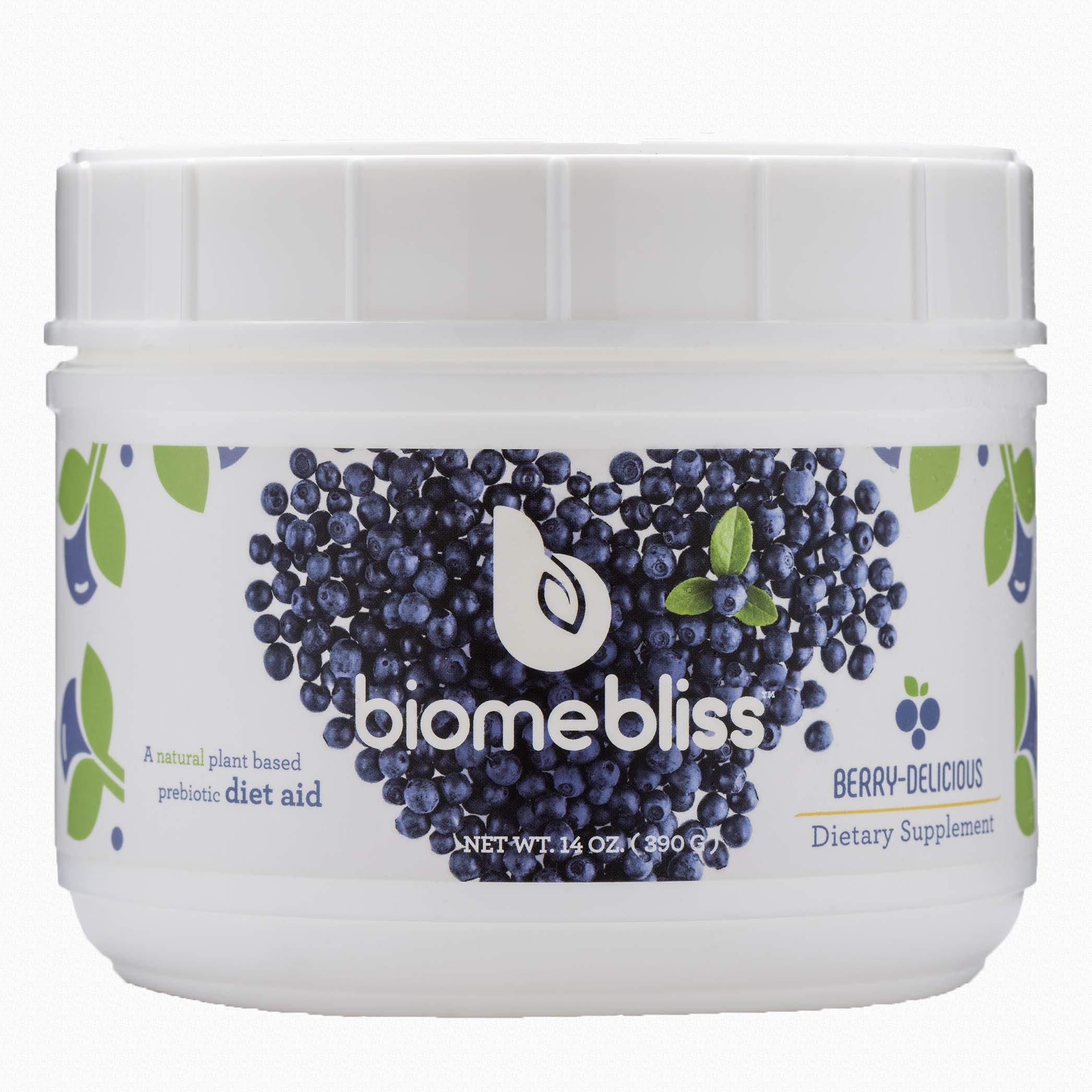 BiomeBliss Prebiotic Fiber Blend - A Berry-Delicious Drink Mix for Hunger Control, Gut Health, Regularity, Blood Sugar Regulation. Scientifically Tested Prebiotic Solution - 14oz (390G) by BiomeBliss