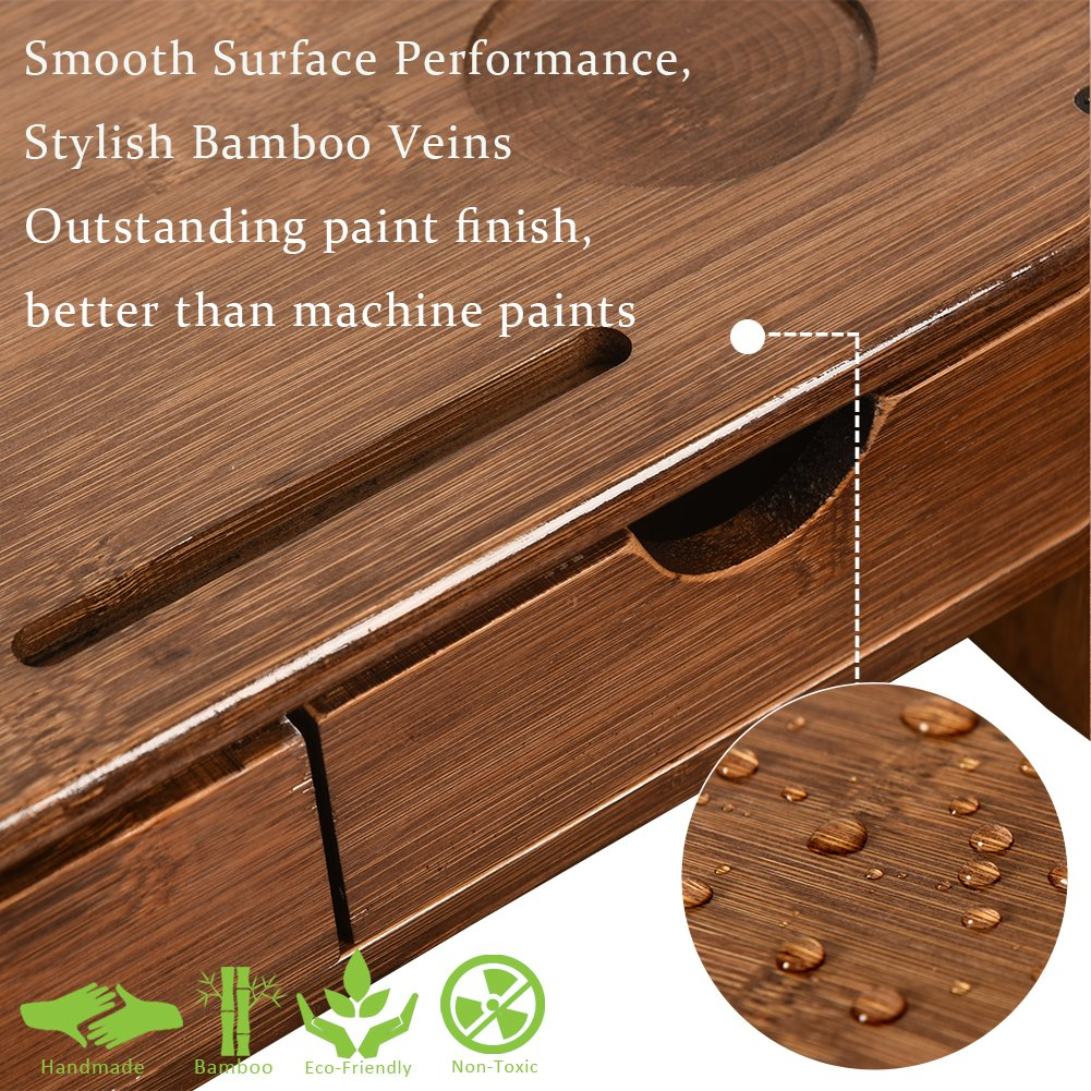 Sundale Bamboo Wood Monitor Stand Ergonomic Computer Riser with Storage Organizer Drawers Desktop Laptop Shelf Risers Cellphone Stand for Home and Office Use, Classic Antique Brown
