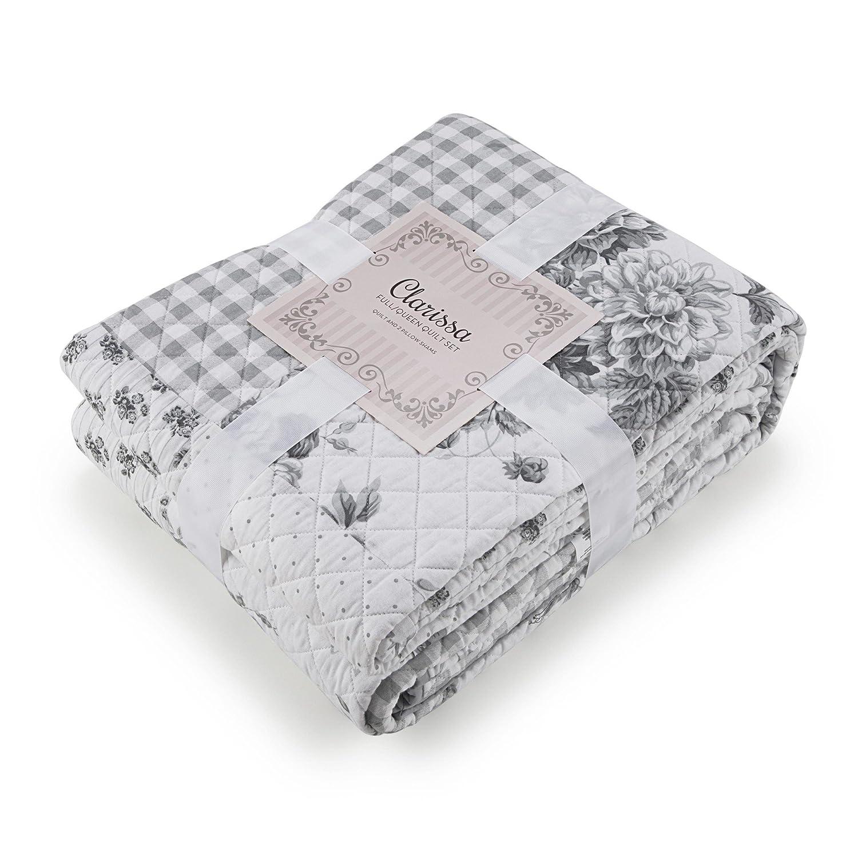 46b0656897a Amazon.com  WestPoint Home Clarissa Quilt Set Twin Grey White  Home    Kitchen
