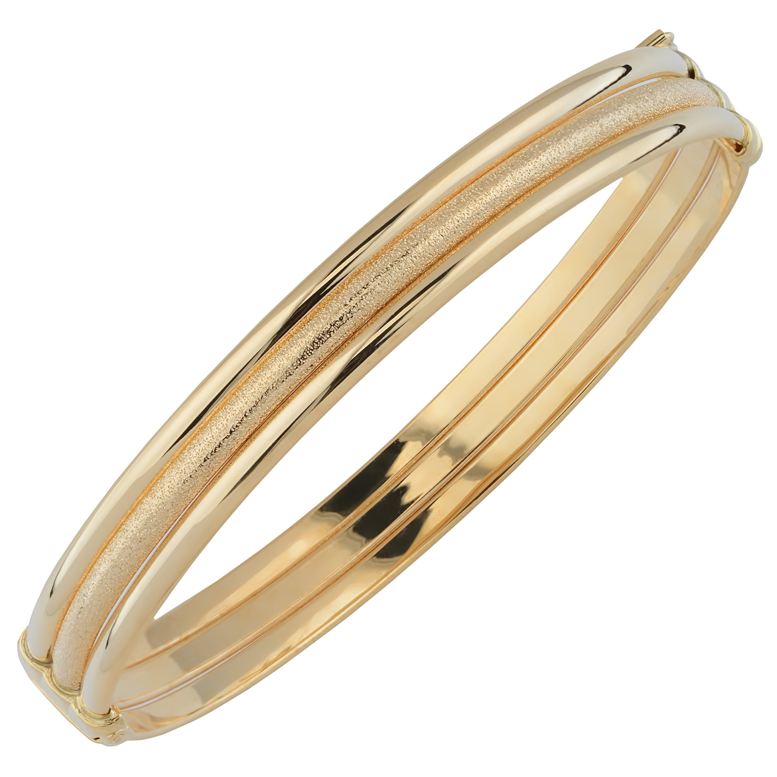 14k Yellow Gold 8mm High Polish And Glass Blast Finished Triple Bangle Bracelet
