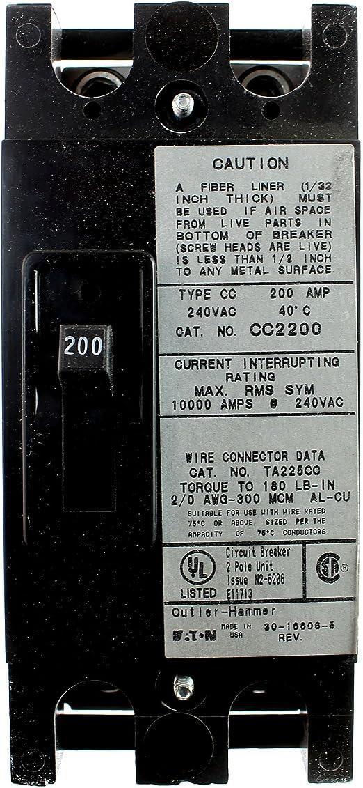 CIR3023 EATON MOLDED CASE C//B ACC TRIP UNIT KT2200T 200 Amp 600V 2 Pole