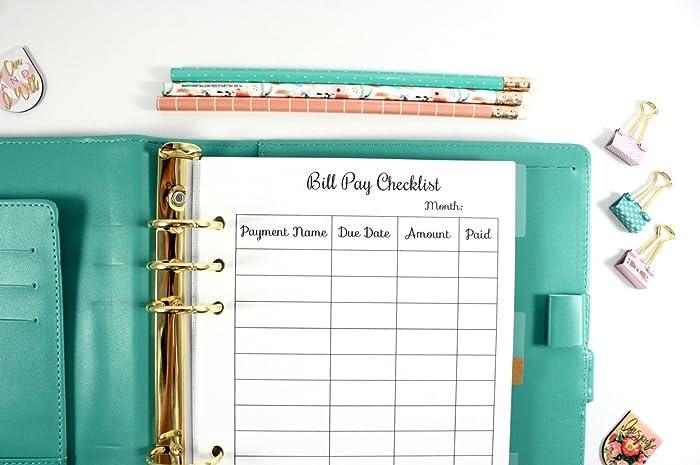 amazon com a5 planner bill pay checklist filofax a5 planner