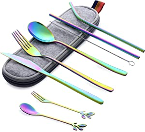 Portable Utensils Set with Case, Reusable Office Flatware Silverware Set, Healthy & Eco-Friendly 9pc Stainless Steel Knife Fork Spoon Fruit Fork Dessert Spoon Cleaning Brush Metal Straw Portable Case