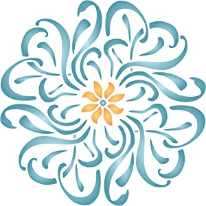 Flower Mandala Stencil, 6.5 x 6.5 inch (S) - Floral Flowers Flora Plants Wall Stencils for Painting Template