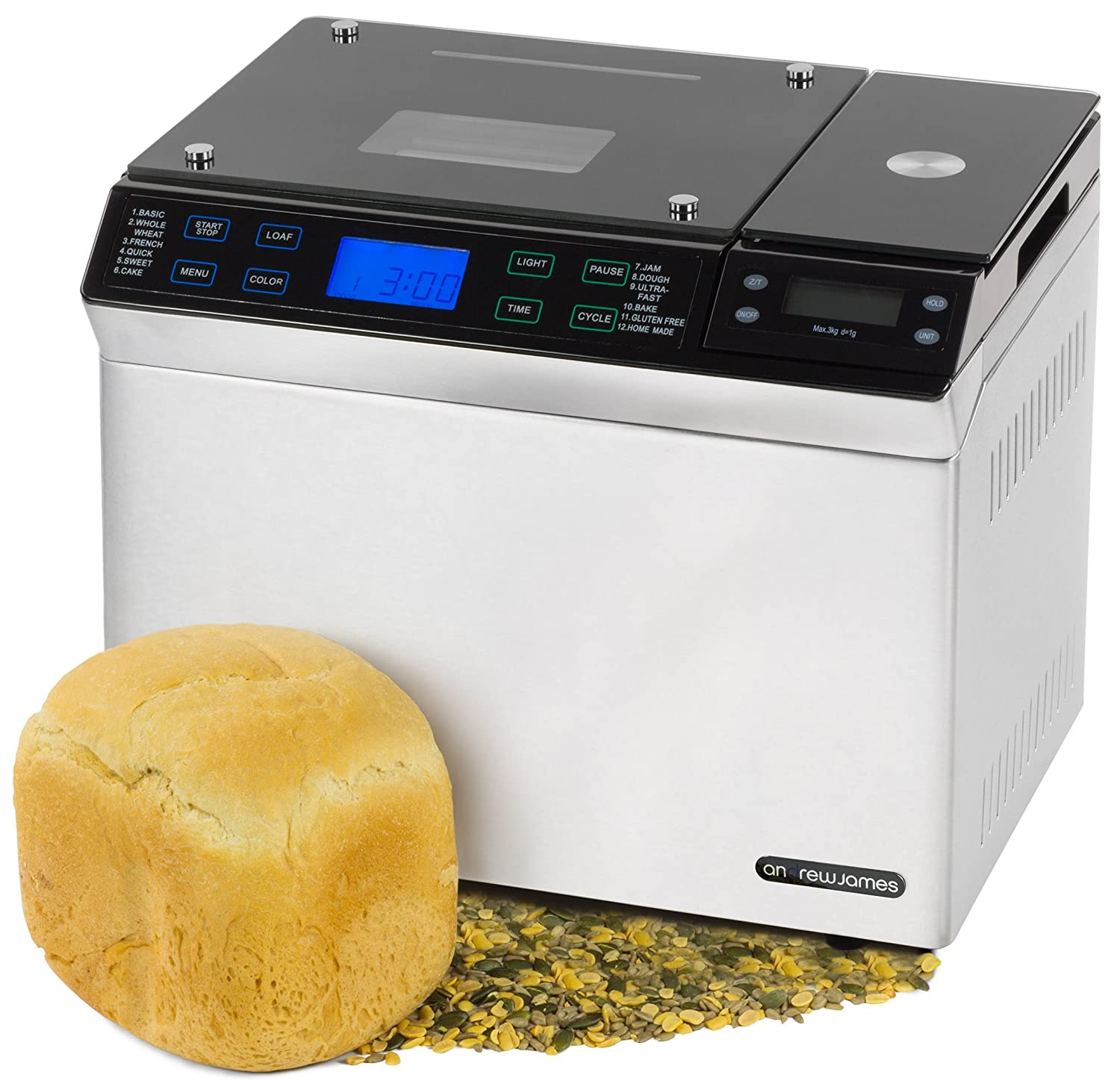 Andrew James Stainless Steel Digital Bread Maker With Scales, 12 Pre-set Functions & Automatic Ingredients Nut And Raisin Dispenser -...