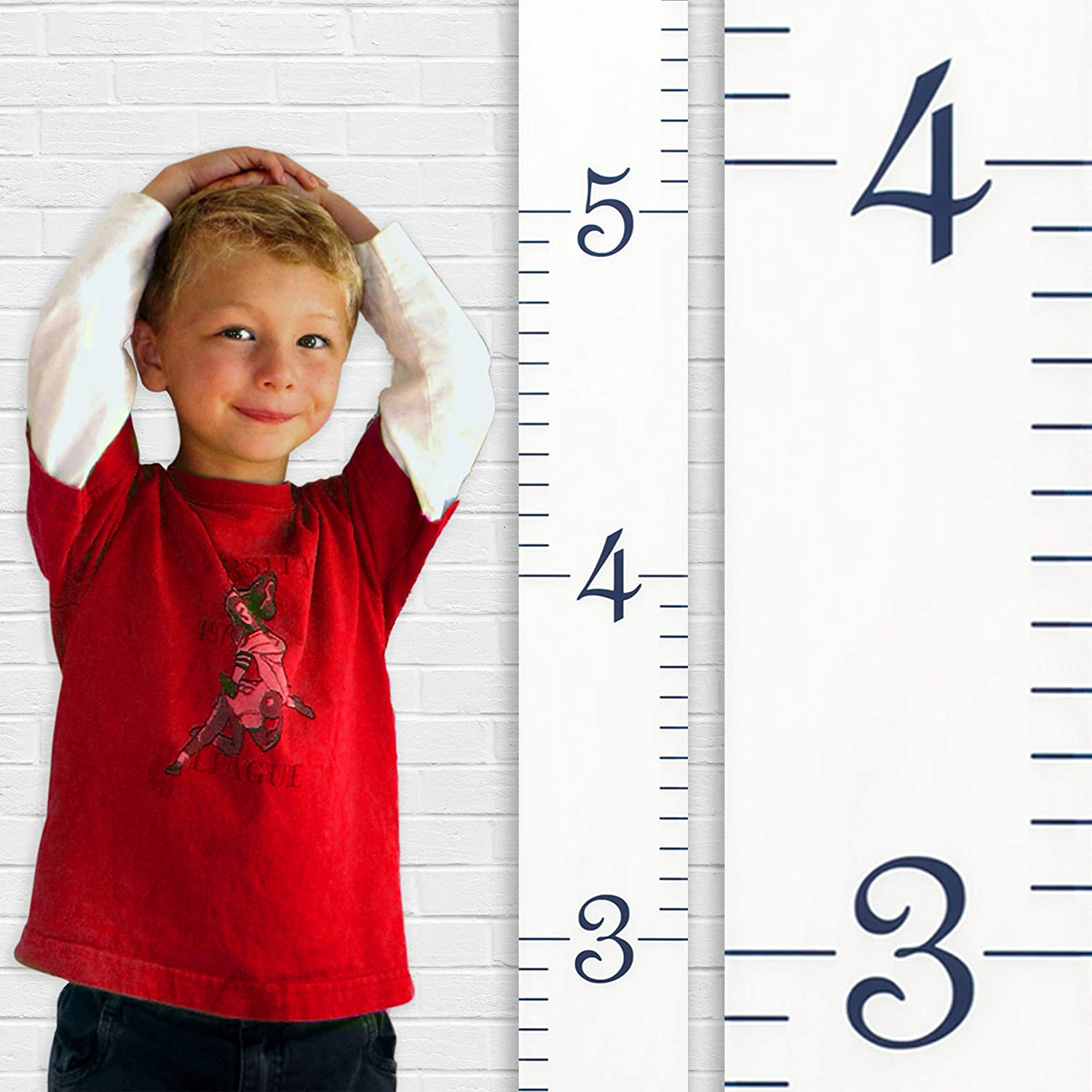 Growth Chart Art | Wooden Growth Chart Ruler Kids Height Chart for Boys + Girls | Measuring Kids Height Wall Décor | White with Black Numerals RULWBL