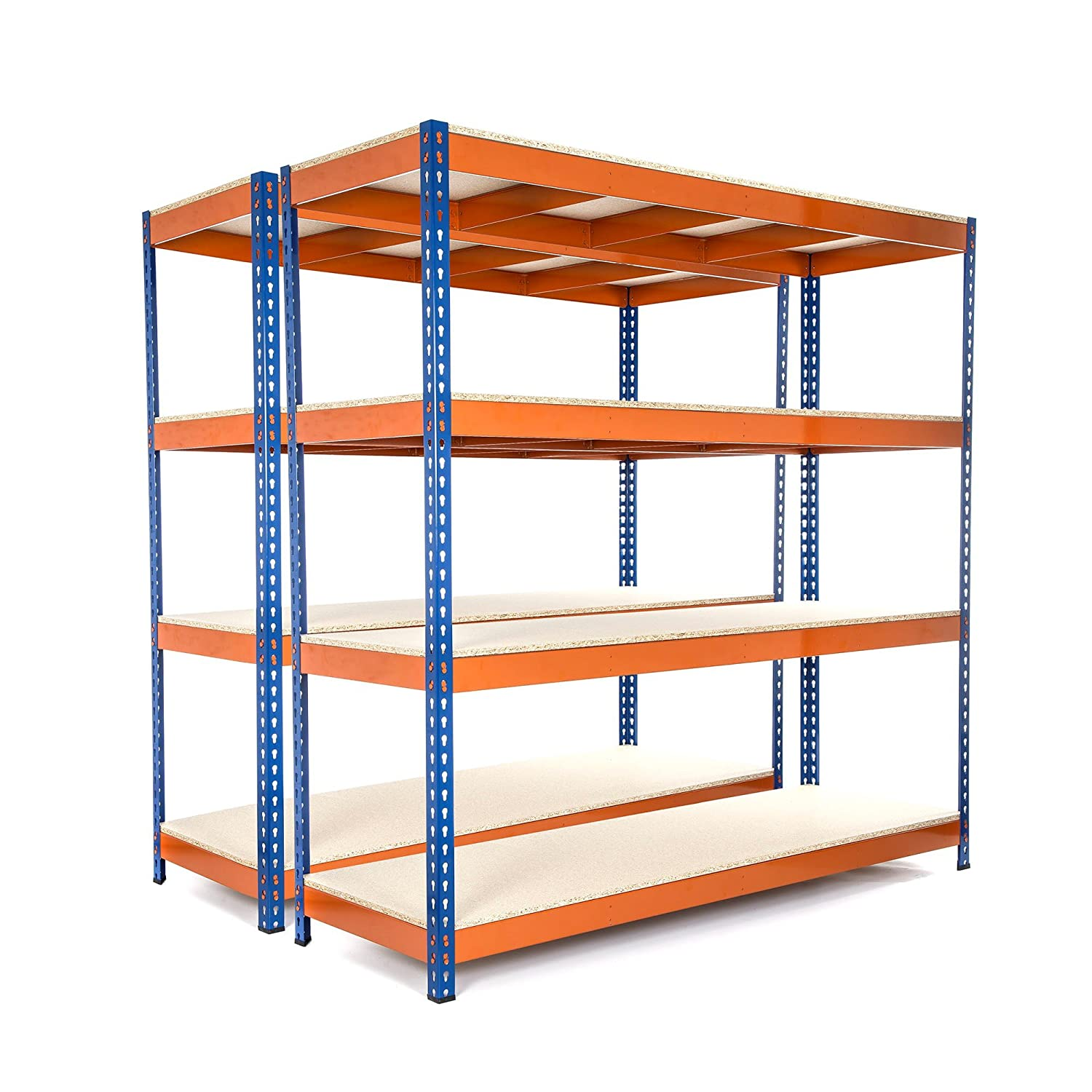 2 Bay Heavy Duty Garage Racking 500kg UDL shelving unit 1800mm H x 1800mm W x 600mm D FREE NEXT DAY DELIVERY