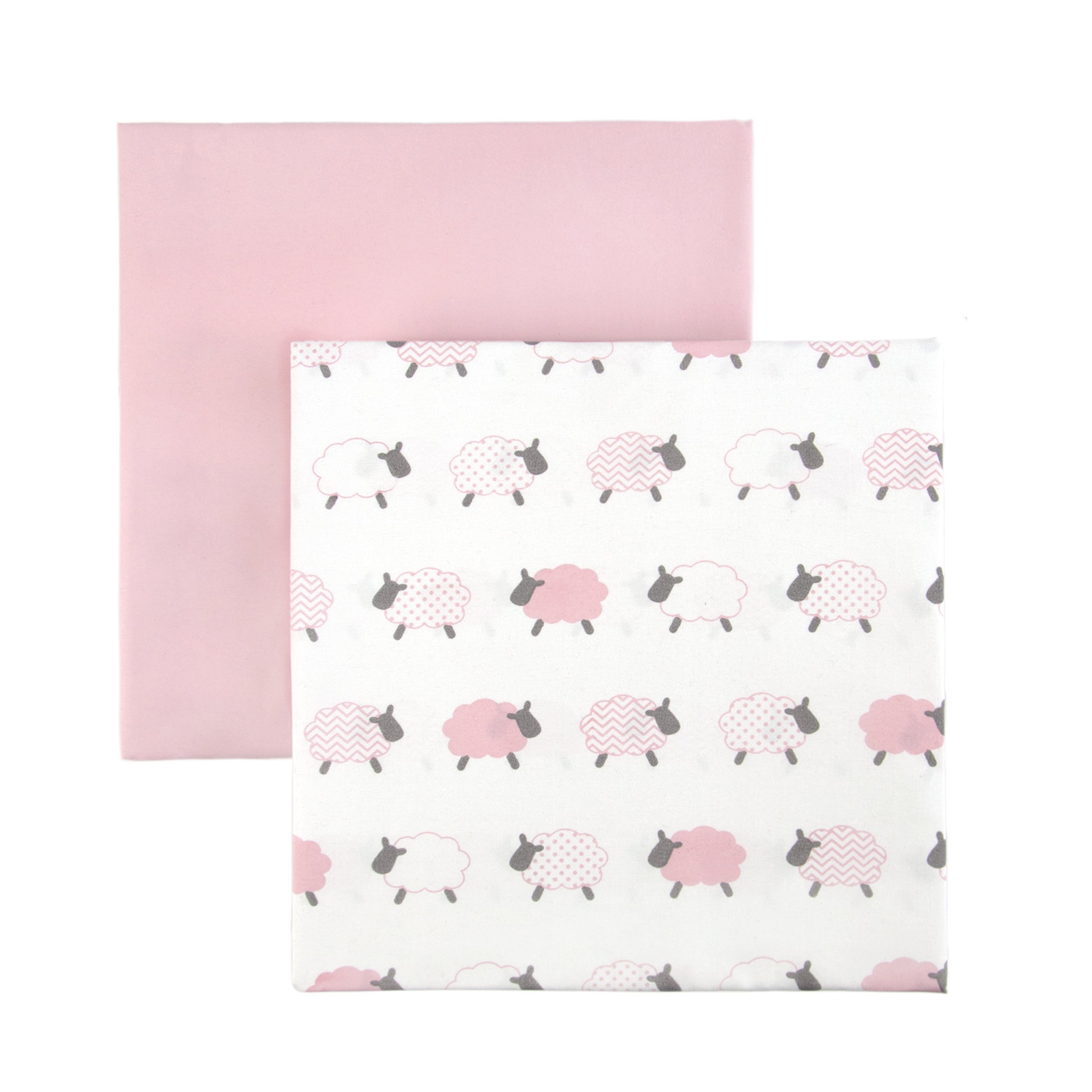 Tadpoles 2 Piece Microfiber Crib Fitted Sheets, Lamb, Pink