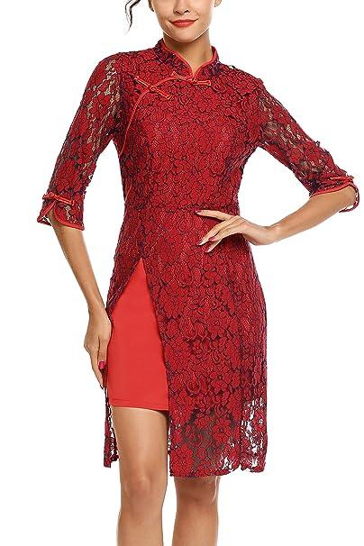 42601a8cd83a4 AL'OFA Women's Vintage Cheongsam 3/4 Sleeve Lace Elegant Cocktail Pencil  Dress